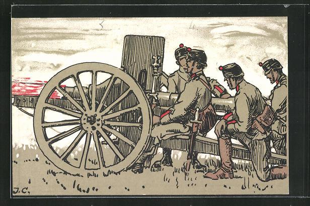 AK Schweizer Soldaten in Uniformen mit Kanone 0