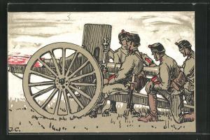 AK Schweizer Soldaten in Uniformen mit Kanone