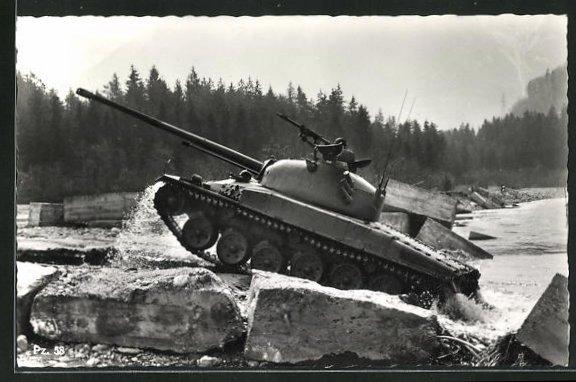AK Schweiz. mittelschwerer Kampfpanzer Pz. 58 auf Gestein 0