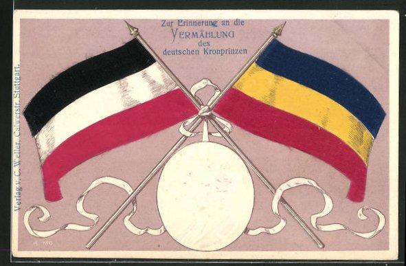 Präge-AK Zur Erinnerung an die Vermählung des Kronprinzen Wilhelm von Preussen, Portrait Kronprinzenpaar mit Flaggen 0