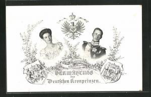 Präge-AK Zur Erinnerung an die Vermählung des Kronprinzen Wilhelm von Preussen, Portrait Kronprinzenpaar