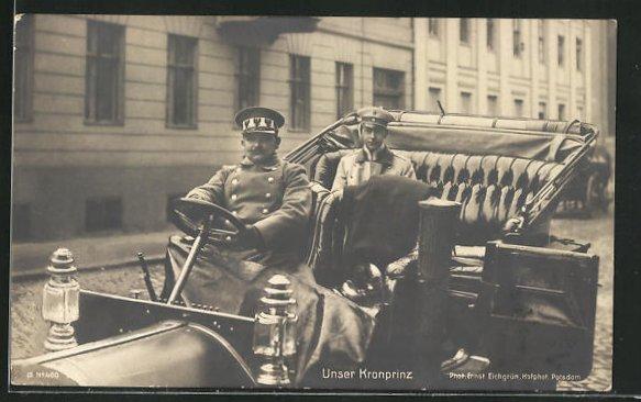 AK Kronprinz Wilhelm von Preussen im Auto 0