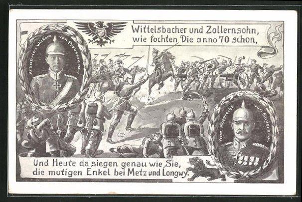 AK Kronprinz Rupprecht von Bayern und Prinz Rupprecht von Bayern, Soldaten in Uniformen im Gefecht 0