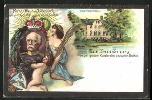 AK Friedrichsruh, Ortspartie, Portrait Fürst Otto von Bismarck, 1815-1898