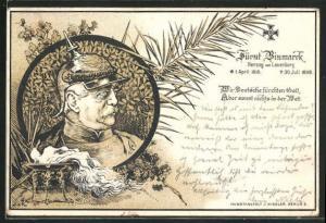 AK Portrait Fürst Bismarck, Herzog von Lauenburg, 1815-1998, Wir Deutsche fürchten Gott...