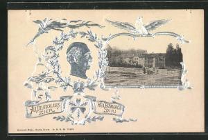 Relief-AK Friedrichsruh, Blick auf das Schloss, Portrait Fürst Bismarck
