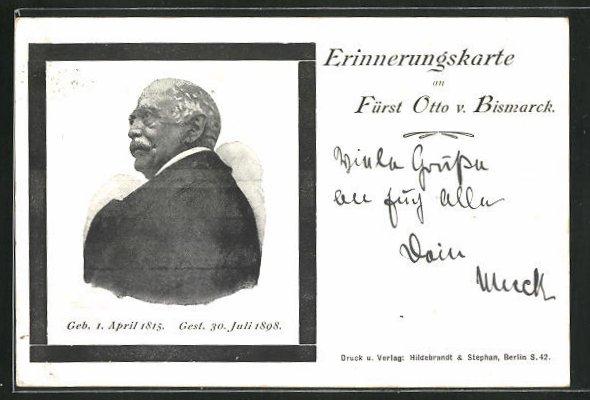 AK Portrait Fürst Otto von Bismarck, 1815-1898 0