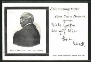 AK Portrait Fürst Otto von Bismarck, 1815-1898