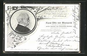 AK Portrait Fürst Otto von Bismarck Herzog von Lauenburg, Erster Kanzler des Deutschen Reiches, 1815-1898