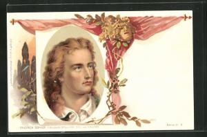 Lithographie Portrait Friedrich Schiller, 1759-1805