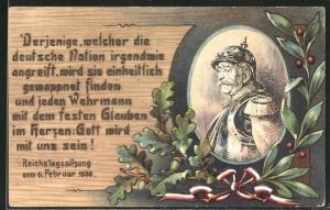 AK Portrait Fürst Otto von Bismarck, Derjenige, welcher die deutsche Nation...