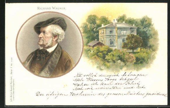 AK Portrait u. Haus von Richard Wagner 0