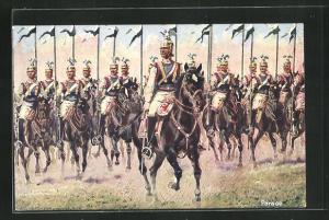 Künstler-AK Anton Hoffmann - München: Parade, Soldaten in Uniformen mit Fahnen zu Pferde