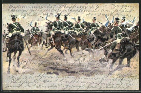 Künstler-AK Anton Hoffmann - München: Soldaten in Uniformen mit Fahnen zu Pferde 0