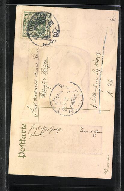 Präge-AK Zur Erinnerung an die Silberhochzeit von Kaiserin Auguste Victoria und Wilhelm II., 1881-1906 1