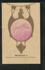 Präge-AK Portrait Kaiser Wilhelm II., Deutscher Kaiser und König von Preussen