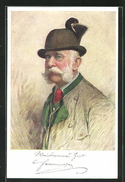 AK Portrait Kaiser Franz Josef I. von Österreich in Jagduniform 0