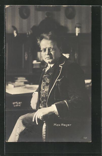 AK Portrait Max Reger am Schreibtisch 0