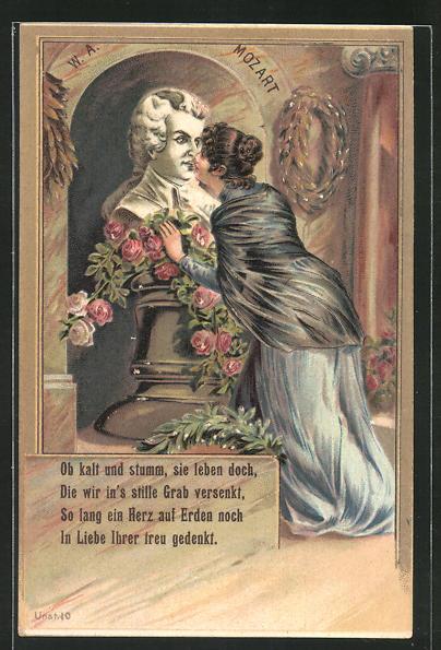 Präge-AK Frau küsst Büste von W. A. Mozart, Ob kalt und stumm, sie leben doch... 0