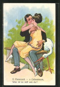 Künstler-AK Arthur Thiele: Liebespaar auf einer Parkbank mit Storch, O Maienzeit-o Liebestraum, Was ist so süss wie du?
