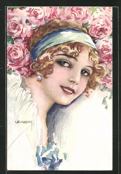 Künstler-AK Luis Usabal: Junge lächelnde Dame mit Rosen 0