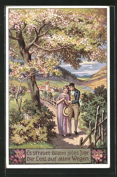 Künstler-AK sign. A. Untersberger: Pärchen bei einem Spaziergang, Es streuet Blüten jedes Jahr... 0