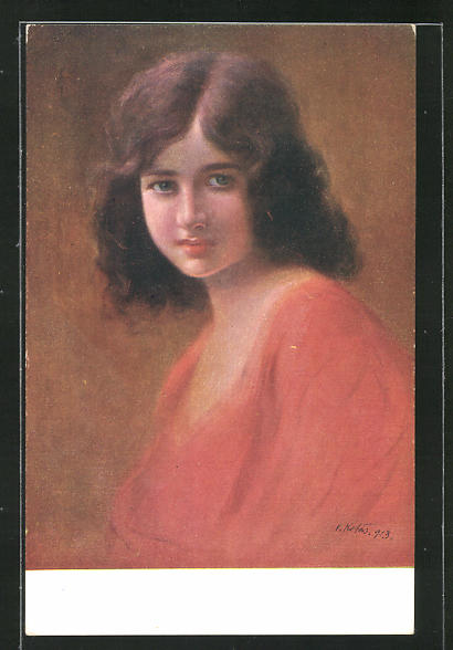 Künstler-AK sign. V. Kotas: Junge Dame im roten Kleid 0