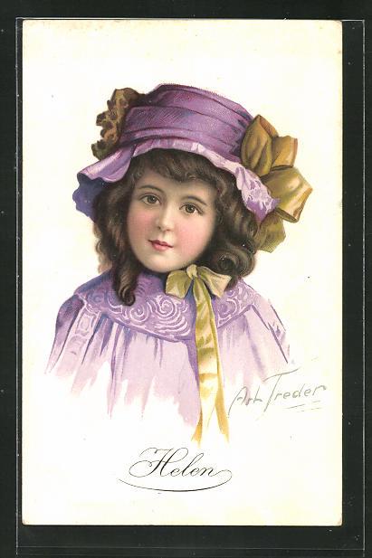 Künstler-AK sign. Art. Treder: Helen, Mädchen mit lilafarbenem Hut 0