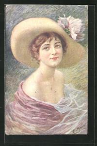 Künstler-AK sign. E. Meier: Junge Dame im wallenden Kleid mit Hut