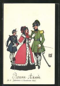 Künstler-AK sign. De Wamay: Schweizer Soldat in Uniform mit Dame, No 8 Infanterie & Carabinier 1860