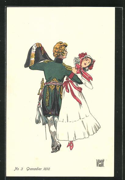 Künstler-AK sign. De Wamay: Schweizer Solat in Uniform tanzt mit Dame, No 3 Grenadier 1810 0
