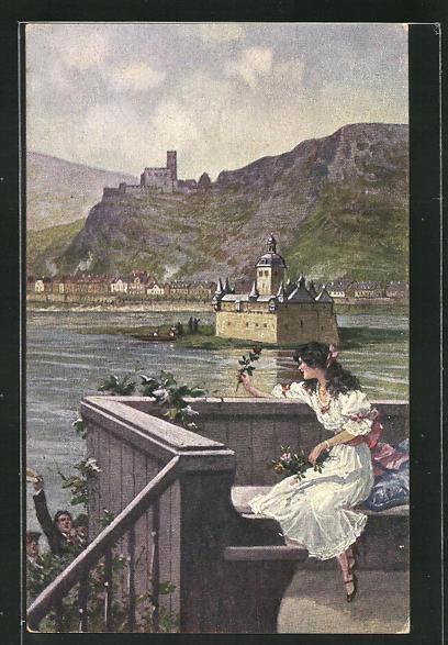 Künstler-AK Arthur Thiele: Die Rose vom Rhein, Maid vor Pfalz Caub 0