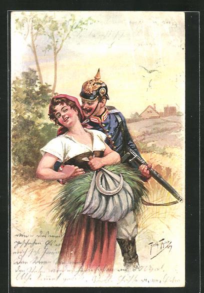 Künstler-AK Arthur Thiele: Sennerin und Soldat mit Pickelhaube 0