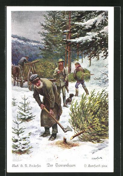Künstler-AK Oskar Herrfurth: H. C. Andersen, Der Tannenbaum, 2. Da kamen um die Weihnachtszeit die Waldarbeiter... 0