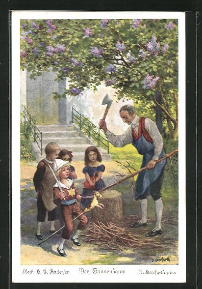 Künstler-AK Oskar Herrfurth: H. C. Andersen, Der Tannenbaum, 6. Und eines Morgens kam der Hausknecht herauf... 0