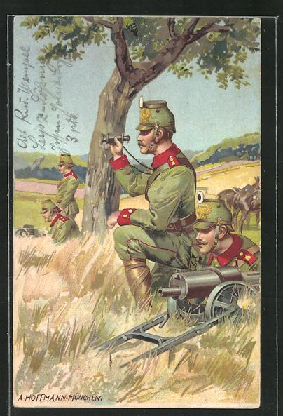 Künstler-AK Anton Hoffmann - München: Soldaten mit Tschako und Meg, rückseitig Schulterklappe 8 0