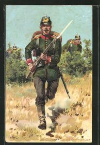 Künstler-AK Anton Hoffmann - München: Soldat mit Tschako in Felduniform, rückseitig Schulterklappe 4