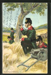 Künstler-AK Anton Hoffmann - München: Soldaten mit Tschako und Maschinengewehr