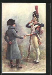 Künstler-AK Orange: Der Kaiser bietet einem Grenadier eine Prise, Napoleon