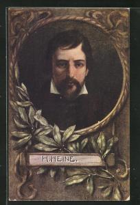 Künstler-AK V. Franke: H. Heine, Portrait des Autors