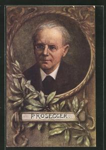 Künstler-AK V. Franke: P. Rosegger, Portrait des Autors