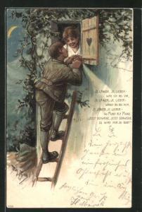 Künstler-Lithographie Arthur Thiele: Je länger, je lieber..., Liebespaar