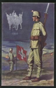 Künstler-AK Grenzbesetzung 1915, Schweizer Soldaten