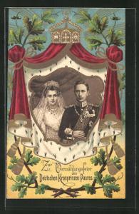 Präge-Lithographie Zur Vermählung des Deutschen Kronprinzen-Paares