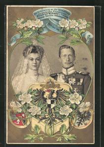 Präge-Lithographie Vermählung des deutschen Kronprinzen Friedrich Wilhelm mit Herzogin Cecilie