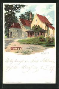 Künstler-Lithographie Karl Mutter: Loretto, Kirche