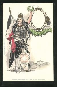 Präge-AK Kaiser Wilhelm II. und Germania mit Lorbeerkranz