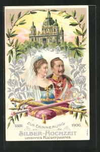 Präge-AK Silberhochzeit des Kaiserpaares Wilhelm II. und Auguste Victoria 1906