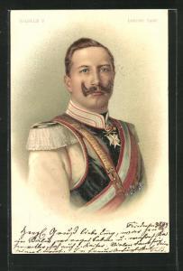 Lithographie Kaiser Wilhelm II. in Uniform