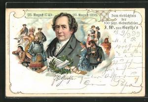Lithographie Gedächtnisfeier der 150 jähr. Geburtsfeier J. W. von Goethe, 1749 - 1899